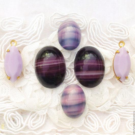 """Для украшений ручной работы. Ярмарка Мастеров - ручная работа. Купить Винтажный набор: стразы, кабошоны, кристаллы, подвески """"Violet, pink"""". Handmade."""