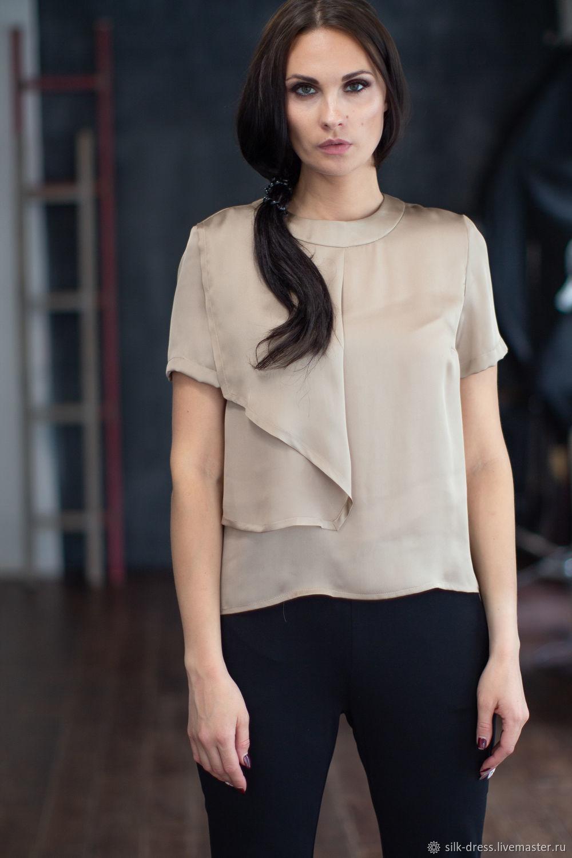 a936530007e Ярмарка Мастеров - ручная работа. Купить Шелковая блузка с короткими  рукавами Блузка из шелка Шелковая блузка с короткими рукавами Блузки ручной  работы.