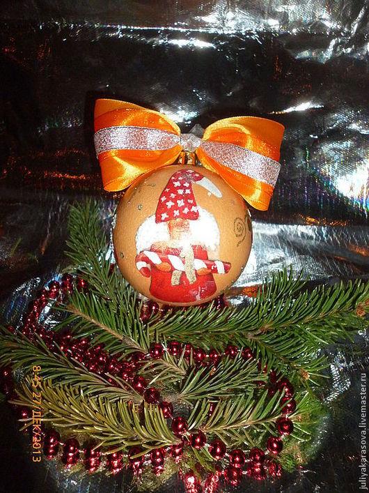 """Новый год 2017 ручной работы. Ярмарка Мастеров - ручная работа. Купить новогодний шарик """"Гном"""". Handmade. Оранжевый, гном"""