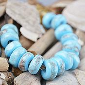 Украшения ручной работы. Ярмарка Мастеров - ручная работа Голубые песчаные - бусины лэмпворк для браслета в стиле пандора. Handmade.