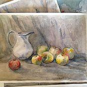 Картины и панно ручной работы. Ярмарка Мастеров - ручная работа Натюрморт с яблоками и кувшином. Handmade.