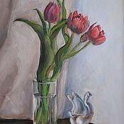 Картины ручной работы. Ярмарка Мастеров - ручная работа В ожидании весны. Натюрморт с тюльпанами. Handmade.