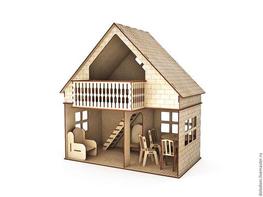 Куклы и игрушки ручной работы. Ярмарка Мастеров - ручная работа. Купить КД-0000016 кукольный домик с балконом мебелированный. Handmade.