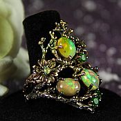 "Rings handmade. Livemaster - original item Ring with Ethiopian opals ""Magic Ring Tara"" silver, gold. Handmade."