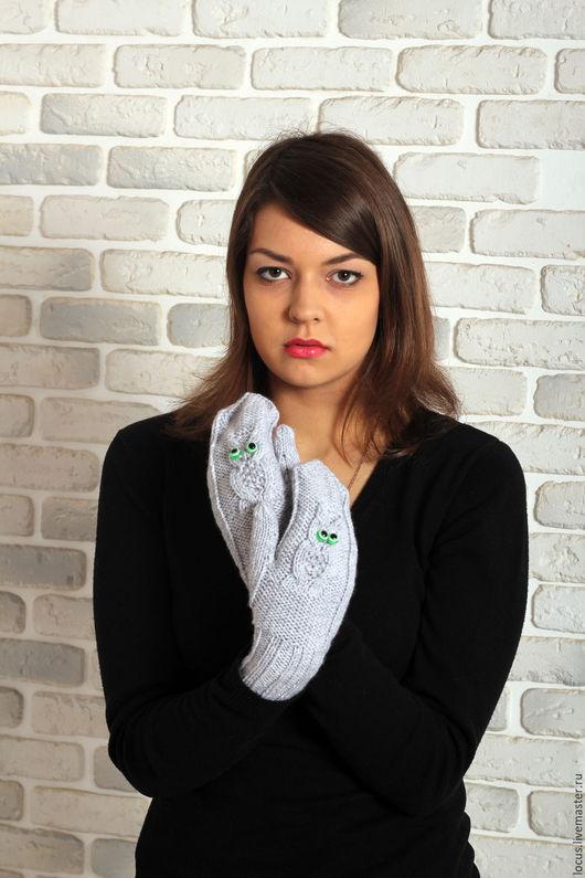 """Варежки, митенки, перчатки ручной работы. Ярмарка Мастеров - ручная работа. Купить Варежки """"Зеленоглазые совики"""". Handmade. Серый"""