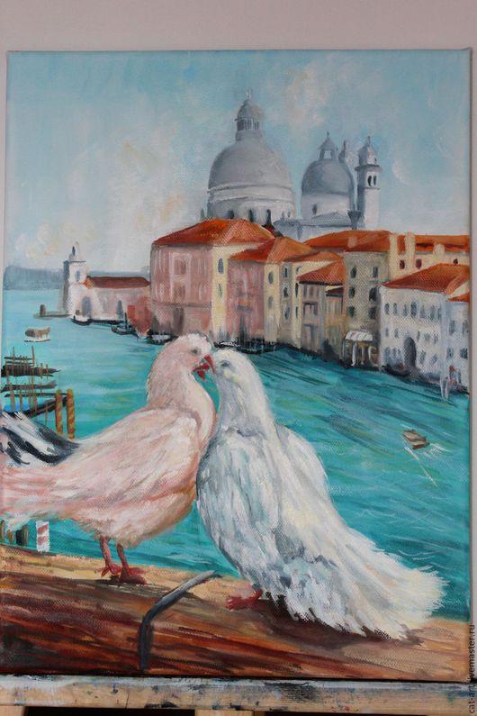 Город ручной работы. Ярмарка Мастеров - ручная работа. Купить Авторская картина  - Двое в Венеции. Handmade. Тёмно-бирюзовый, венеция