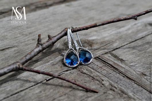 Серьги ручной работы. Ярмарка Мастеров - ручная работа. Купить Серьги Синее синее....Лондон. Handmade. Синий, серебро