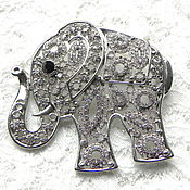 Винтаж ручной работы. Ярмарка Мастеров - ручная работа Брошь – подвеска Ажурный слоник,Гонконг-США,слон,животное,в подарок. Handmade.