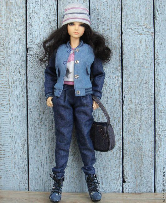 Одежда для кукол ручной работы. Ярмарка Мастеров - ручная работа. Купить Одежда для кукол Комплект Весенний вариант Бомбер брюки галифе  джинса. Handmade.
