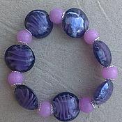 """Украшения ручной работы. Ярмарка Мастеров - ручная работа Браслет из стекла """"Орхидея"""", фиолетовый браслет. Handmade."""