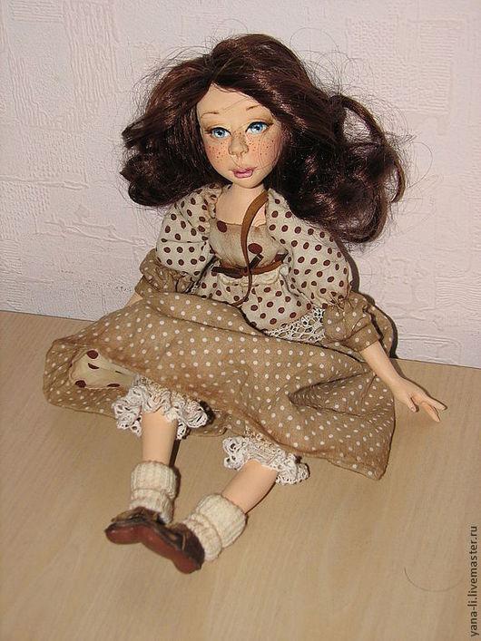 """Коллекционные куклы ручной работы. Ярмарка Мастеров - ручная работа. Купить авторская кукла """"Любочка"""". Handmade. Коричневый, авторская кукла"""
