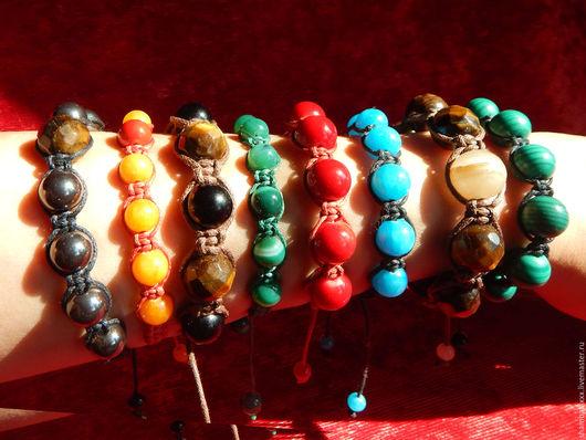 Браслеты ручной работы. Ярмарка Мастеров - ручная работа. Купить Браслет-оберег  Шамбала из натуральных камней. Handmade. Комбинированный, самоцветы