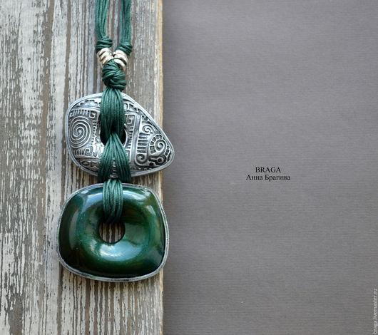 Кулоны, подвески ручной работы. Ярмарка Мастеров - ручная работа. Купить Кулон Изумрудный с серебром. Из полимерной глины.. Handmade.