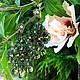 Серьги  кружевные `Изумруд` со сваровски, фриволите, Анкарс. Серьги ручной работы, серьги длинные.