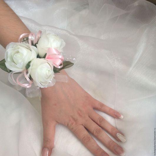 """Одежда и аксессуары ручной работы. Ярмарка Мастеров - ручная работа. Купить Браслет подружкам невесты """"Розы """". Handmade."""