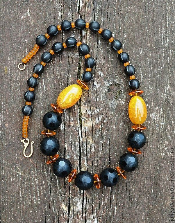 Beads with yellow agate, Necklace, Murmansk,  Фото №1