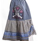 Одежда ручной работы. Ярмарка Мастеров - ручная работа Юбка летняя две голубки. Handmade.