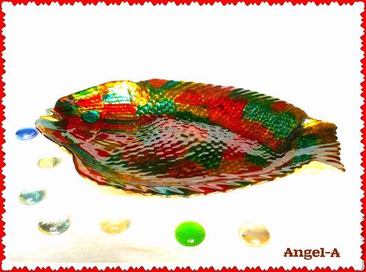 Кухня ручной работы. Ярмарка Мастеров - ручная работа. Купить Блюдо Рыбка-радуга. Handmade. Комбинированный, стеклянное блюдо