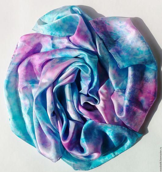 Шелковый платок женский Сирень и бирюза, шелковый платок на голову, шелковый платок шею, шейный шелковый платок - стильный аксессуар, подарок девушке, подарок женщине на любой случай