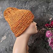 Аксессуары handmade. Livemaster - original item Women`s knitted hat, beanie, slouchy hat, pumpkin, warm hat. Handmade.