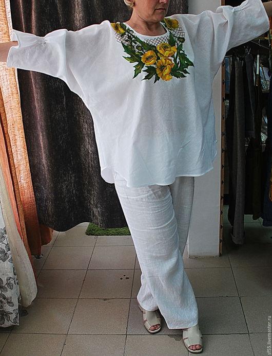 """Блузки ручной работы. Ярмарка Мастеров - ручная работа. Купить Туника, блуза  из льна """"Маки  желтые на сетке"""". Handmade. Белый"""