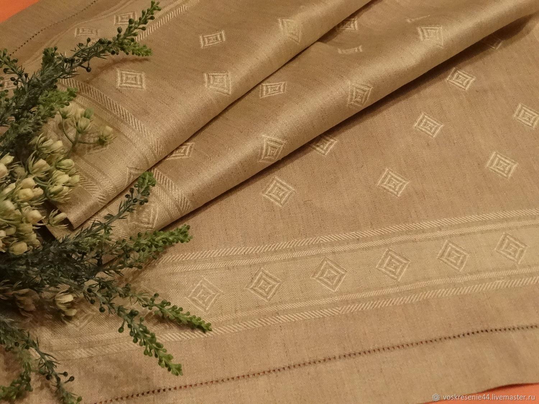 Полотенце льняное жаккардовое Традиция Серо Кремовый цвет, Полотенца, Кострома,  Фото №1
