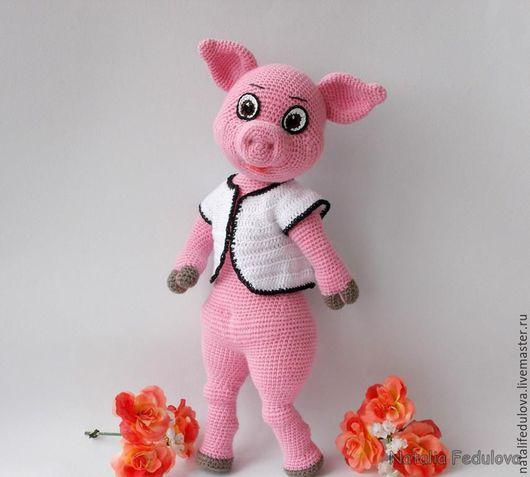 купить игрушка свинка,игрушка ручной работы,мягкая игрушка свинка,вязаные игрушки,ручная работа купить