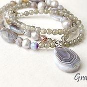 Украшения handmade. Livemaster - original item Long necklace with a pendant of agate with silver. Handmade.
