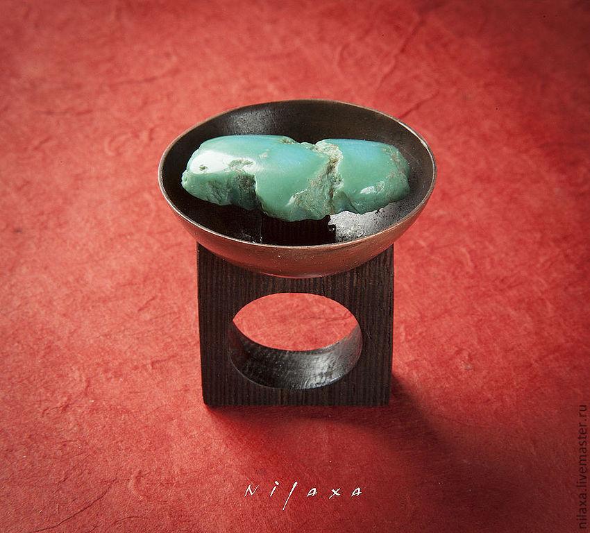 Кольца ручной работы. Ярмарка Мастеров - ручная работа. Купить Кольцо из меди, дерева и бирюзы - Зеленый остров. Handmade. Бирюзовый