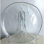 Тарелки винтажные ручной работы. Ярмарка Мастеров - ручная работа Винтажное  блюдо из толстого стекла. Handmade.