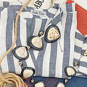 Одежда handmade. Livemaster - original item A linen tunic with a wide stripe of oversize. Handmade.