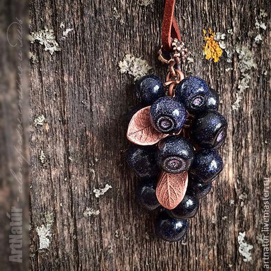 """Кулоны, подвески ручной работы. Ярмарка Мастеров - ручная работа. Купить Кулон lampwork """"Черника"""" - Vaccinium myrtillus. Handmade."""