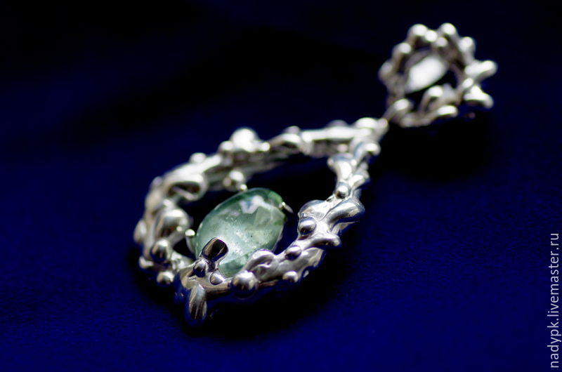 Pendant with aquamarine 'After the rain', silver, Pendants, Moscow,  Фото №1
