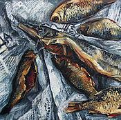 Картины и панно handmade. Livemaster - original item Painting pastel still life with fish. graphics.. Handmade.