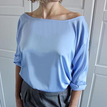 Одежда ручной работы. Ярмарка Мастеров - ручная работа Лавандово-голубая блуза, Италия. Handmade.