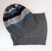 """Работы для детей, ручной работы. Ярмарка Мастеров - ручная работа шапка и шарф-снуд для мальчика """"Greyblue"""". Handmade."""