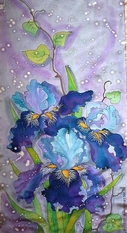 Шали, палантины ручной работы. Ярмарка Мастеров - ручная работа. Купить Ирисы цветут(палантин) Горячий и холодный батик.Крепдешин.195-50 см.. Handmade.