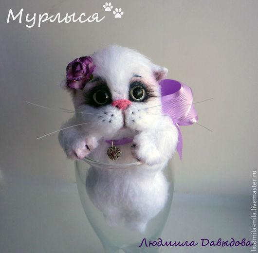 Людмила Давыдова, белый котенок игрушка, игрушка белый котенок, белый котенок купить, игрушка белая кошка, мягкая игрушка кошка, подарки и сувениры кошка, подарок любимой девушке кошка, вязаные котики