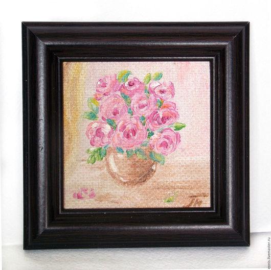 """Пейзаж ручной работы. Ярмарка Мастеров - ручная работа. Купить Мини-картина """"Розы"""". Handmade. Розовый, мини-картина"""