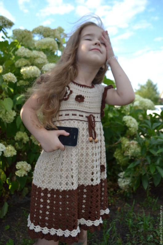 """Одежда для девочек, ручной работы. Ярмарка Мастеров - ручная работа. Купить Платье для девочки """"Два шоколада"""". Handmade. Коричневый"""