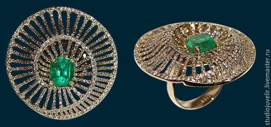 Кольца ручной работы. Ярмарка Мастеров - ручная работа. Купить Золотое кольцо с изумрудом и бриллиантами. Handmade. Зеленый, золото, изумруд