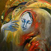 Картины и панно ручной работы. Ярмарка Мастеров - ручная работа Созидание и разрушение по краям красного шарфа. Handmade.