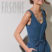 Одежда handmade. Livemaster - original item Women`s jumpsuit blue with belt Jumpsuit blue summer. Handmade.