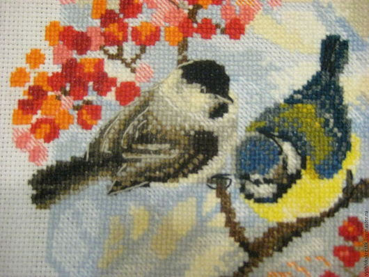 """Животные ручной работы. Ярмарка Мастеров - ручная работа. Купить Готовая вышивка """" Зимние синички"""". Handmade. Вышивка, птицы"""