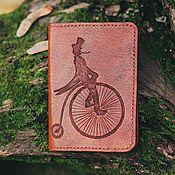 """Канцелярские товары ручной работы. Ярмарка Мастеров - ручная работа Обложка для паспорта  """"Penny Farthing"""", кожа. Handmade."""