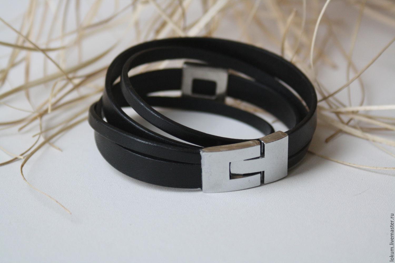 Купить Кожаный браслет Большой Черный Конь - браслет из к...