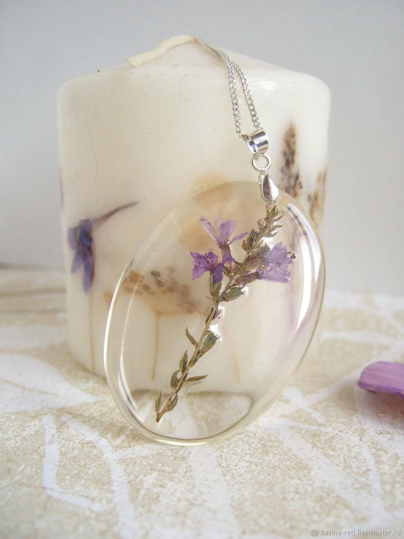 Transparent Pendant with Purple Lilac Flower Botany Eco Decoration, Pendants, Taganrog,  Фото №1
