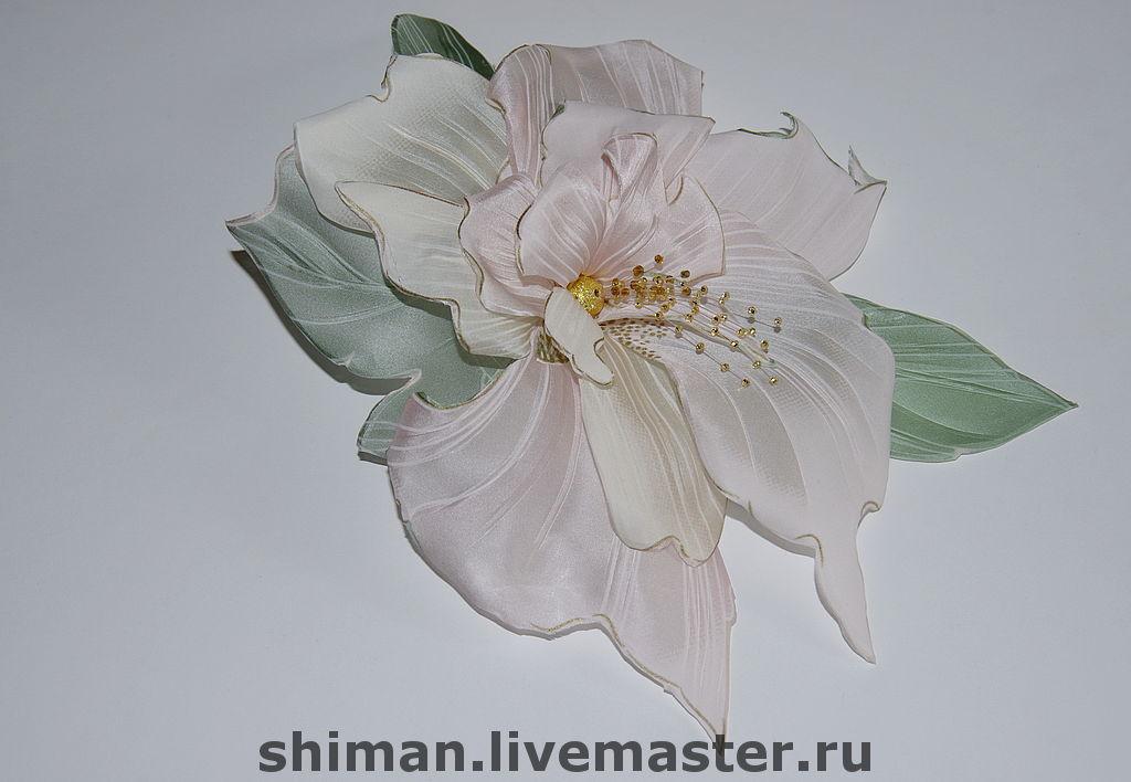 "Орхидея из ткани ""Фантази"". Цветы из ткани, Брошь-булавка, Санкт-Петербург,  Фото №1"