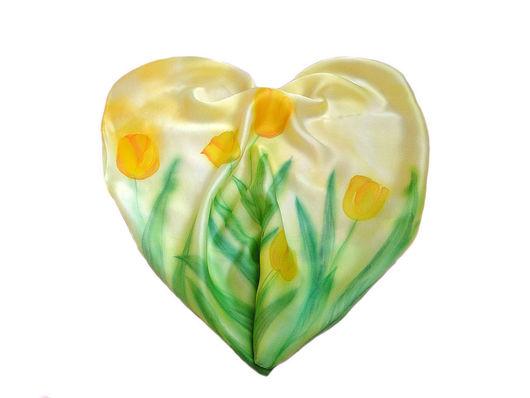 Шарфы и шарфики ручной работы. Ярмарка Мастеров - ручная работа. Купить Тюльпаны. Handmade. Тюльпаны, зеленый, натуральный шёлк атлас