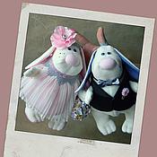 Куклы и игрушки ручной работы. Ярмарка Мастеров - ручная работа Зайки свадебные. Handmade.